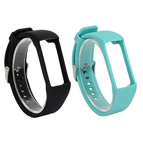 RuenTech 2Pcs Polar A360 Replacement Bands, Soft Silicone Strap/Sport Wristband Polar A360/ A370 Fitness Tracker (Black&Teal)