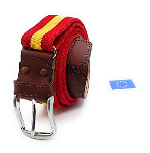 RAU Cinturon de hombre bandera de españa elastico y terminaciones en piel.(ES AJUSTABLE VALE DESDE LA TALLA 90 A LA 120) (ROJO)