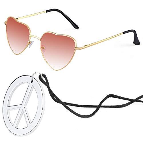 Beelittle Hippie Costume Accessori per uomo e donna - Retro Hippie 60's Style Circle Glasses Collana con segno di pace (Cuore-vino rosso)