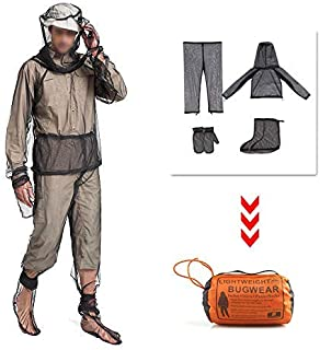 HOMEYA Bug Jacket, Anti Mosquito Netting Suit with Zipper on Hood Ultra-fine Mesh Pants Mitt Socks with Free Carry Pouch for Protecting Hunting Fishing Men Women - M