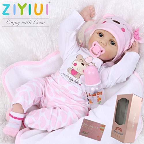 ZIYIUI 22 Zoll 55cm Lebensecht Reborn Babypuppe Mädchen Weiches Silikon Vinyl Neugeborene Reborn Puppen Ganzkörper Realistisch Magnetischer Schnuller Reborn Dolls