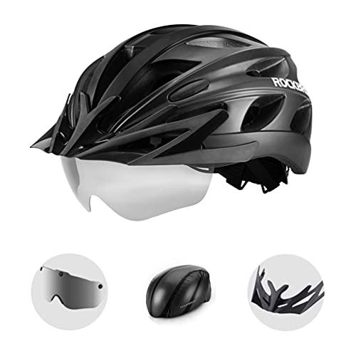 ROCKBROS Casco Bicicleta MTB Montaña Gafas Magnéticas Desmontable para Hombres Mujeres, Casco con Funda Impermeable