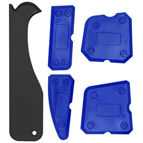 BoloShine 5 Pezzi Fughe Kit di Spatole Sigillante Tool, Professionale Kit di Raschietto in Silicone Fughe Strumento di Calafataggio Spatulas Tool per Cucina Bagno di Tenuta del Pavimento