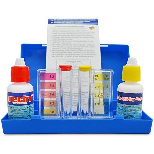 Hecht Profi Wassertester Chlor - Für eine perfekte Messung Ihrer Wasserqualität – Idealer Schnelltest mit Phenol Red – Innovativer Schütteltest für optimale Wasserpflege H060601