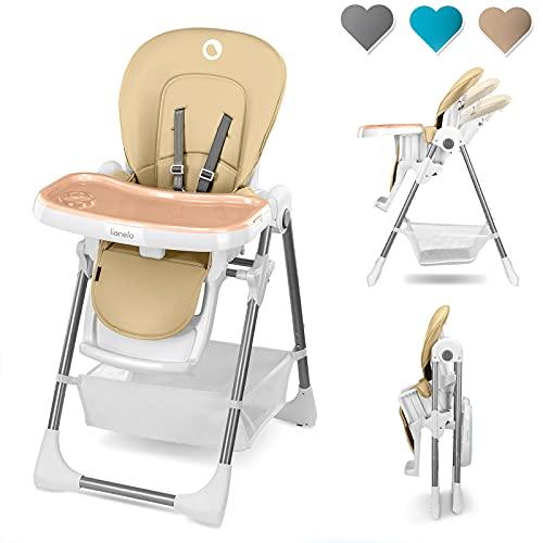Lionelo Linn Plus Hochstuhl Baby Kinder Hochstuhl ab 6 Monaten Kinderstuhl bis 15 kg belastbar Hochstuhl Baby mit Liegefunktion zahlreisches Zubehör (Beige)