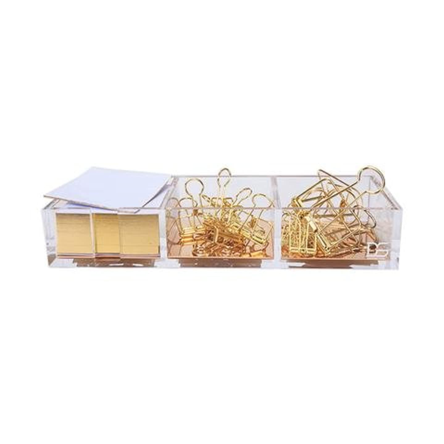 Clarity Gold Notes Holder with Cube Memo Pad 320 Sheets, Acrylic 3 in 1 Drawer Organizer by Draymond Story (Clips Sold Separately) - Gift Ideas for Women