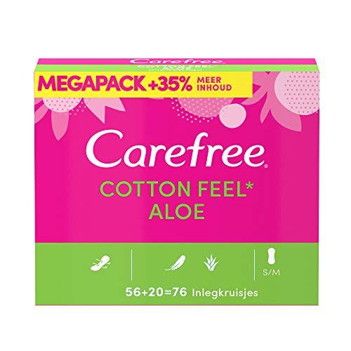 Carefree Cotton Feel Aloe inlegkruisjes, megapack, 100% luchtdoorlatend, ademende toplaag voor langdurige frisheid, absorptiegraad 2, maat S/M, 156 mm, 76 stuks