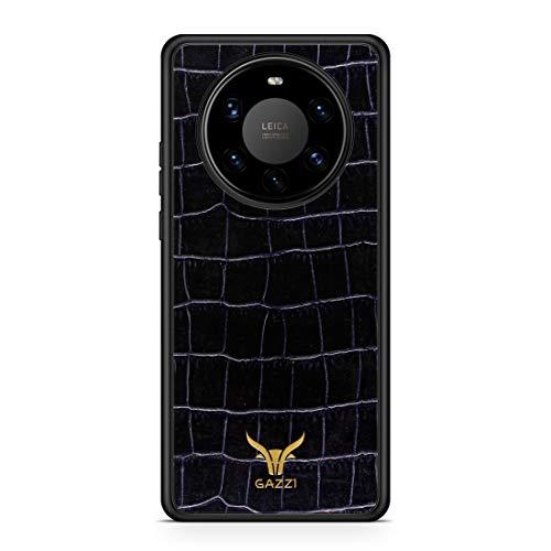 GAZZI Lederhülle für Huawei Mate 40 PRO Hülle Hülle Schale Backcover Handyhülle Schutzhülle Echt Leder, R&umschutz, Flexible Schale (Kroko Blau Gold)