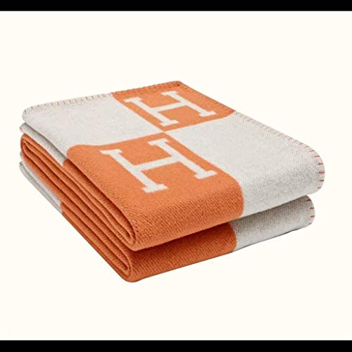 Super Soft Wool H Blanket All Season Light Living Room, Bedroom Warm Blanket for Sofa Bed, Chair, Love Chair, car Orange