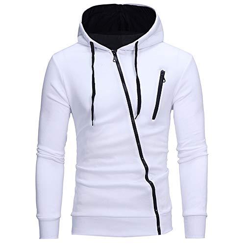 BEIXUNDIANZI Sweatjacke Herren Reißverschluss Kapuzenpullover Kapuzenjacke Sweatshirt Hoodie Männe Langarm Cardigan Mantel mit Kapuzen White L
