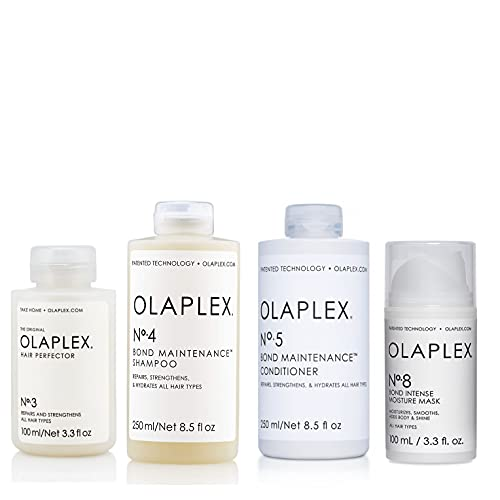 Olaplex Set - Olaplex No 3 Hair Perfector 100ml + Olaplex No 4 Bond Maintenance Shampoo 250ml + Olaplex No 5 Bond Maintenance Conditioner 250ml + Olaplex No 8 Bond Intense Moisture Mask 100ml