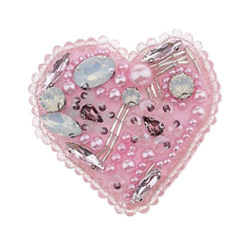 Bonarty Parches de Cristal con Cuentas de Corazón de Insignia Coser en Apliques Bolsas de Ropa Decoradas