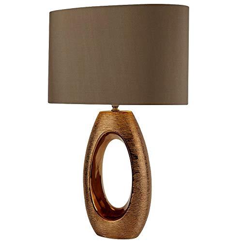 Lámpara de mesa de diseño para comedor de tela, pantalla de bronce, color nocturno, EU1213BZ