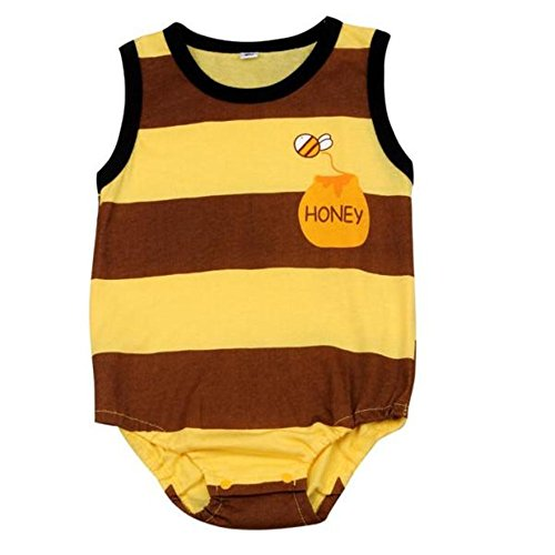Vovotrade® Lovely Belle Nouveau-Né Enfants Bébé Kids Baby Boy Girl Garçon Fille Infantile Printed Imprimé Barboteuse Romper Jumpsuit Vêtements Bodysuit Clothes (Yellow -Bee, 6M)