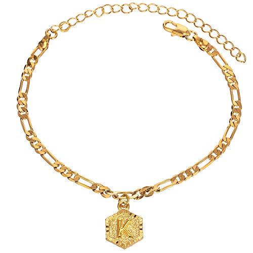 Initial Ankle Bracelets for Women Men, 18K Gold Silver Figaro Cuban Link Anklet Bracelet for Women Teen Girls, Custom Name Gold Anklet with Initials