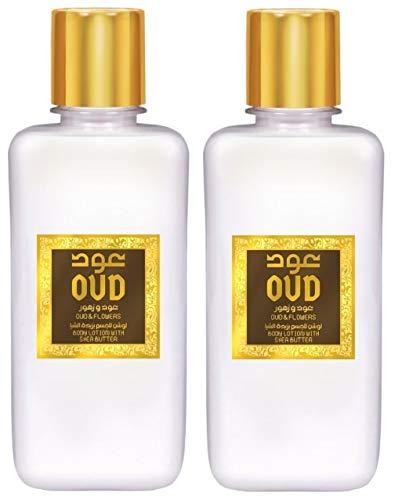 Lot de 2 Crèmes Lotion Lait Parfumé Hydratant Oud Fleures 300ml Pour le Corps et Visage Homme et Femme Notes: Oud, Bergamote, Fleur Fressia