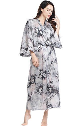 """ArtiDeco Kimono Floral Largo Bata Novia Kimono de Seda Túnica de Satén 1920s Ropa de Dormir Despedida de Soletera 53"""" (Rojo)"""