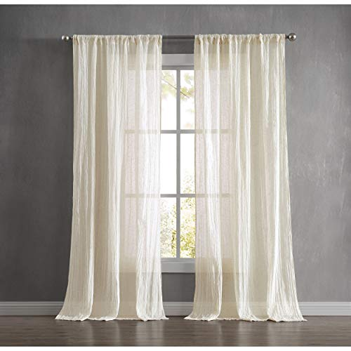 """French Connection Charter Crushed Window Curtain, 100""""x84"""", Natural"""