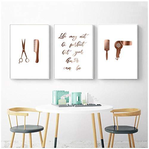 MULMF Friseursalon Dekoration Haar Poster und Drucke Friseur Geschenk Wandkunst Leinwand Gemälde Bilder Home Decoration- 50x70cmx3 no Frame