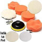 Paor 7PCS 3 pulgadas (75 mm) esponja y lana pulido kit de almohadilla de pulido conjunto con adaptador de taladro para coche pulido encerado esmalte de sellado