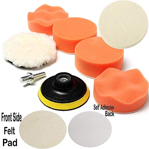 Paor 7PCS 3 inch (75mm) Sponge & Woolen Buffing Polishing Pad Kit Set with Drill Adapter for Car Polishing Waxing Sealing Glaze