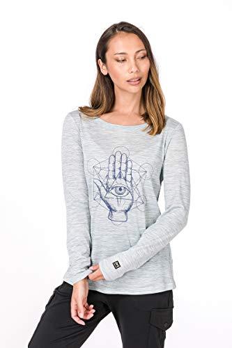super.natural W Graphic 140 Camiseta de Manga Larga de Lana Merino, Mujer, Blue Bleach Melange/Seeing Hand Print, Large