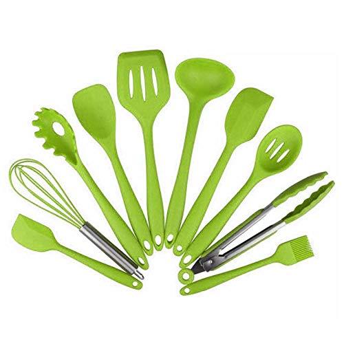 DAMO&GUYAN Utensili Cucina, 10 Pezzi di Utensili da Cucina, Utensili da Cucina in Silicone Resistenti al Calore da Cucina Set di Utensili da Cucina antiaderenti,Verde