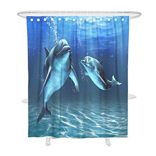Duschvorhang Anti-Schimmel, Fansu 3D Drucken 100% Polyester Bad Vorhang Wasserdicht Anti-Bakteriell mit C-Form Kunststoff Haken mit 12 Ringe für Badzimmer (Blauer Delphin,180x200cm)
