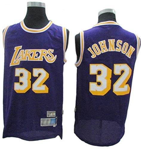 JAG Ropa de Baloncesto para Hombres NBA Lakers 32# Magic Johnson Camisetas Bordadas Retro, Chaleco sin Mangas Transpirable de Malla Tops Deportivos, Púrpura, M (175CM / 65~75Kg)