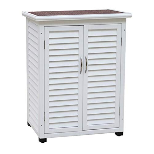 Kitchen Storage Chests Wooden Garden Storage Lockers Wood Lockers White Lifter for Indoor and Outdoor Balcony Door Storage Compartment Waterproof Sunscreen (Color : White, Size : 745099cm)