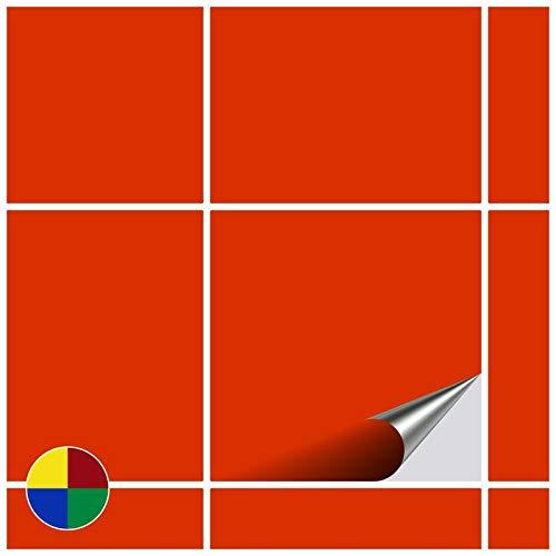 FoLIESEN Fliesenaufkleber für Bad und Küche, 15 x 15 cm, 200 Stück, Orange Rouge Brillant, 20...