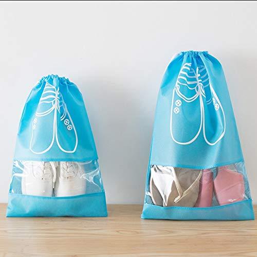 HUIHUAN 20 PCS Bolsa de almacenamiento de zapatos Bolsas de zapatos de viaje Almacenamiento no tejido impermeable con cuerda para hombres y mujeres Zapatos Organizadores de embalaje de bolsas,Blue,L