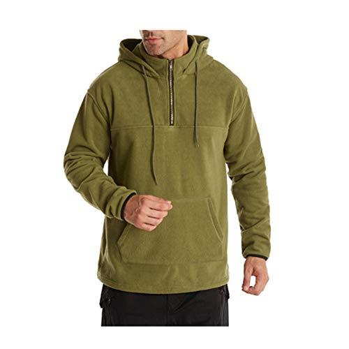Otoño de los Hombres de Color Sólido Casual Deportes Suéter de los Hombres de Doble Cara Polar Verde verde S