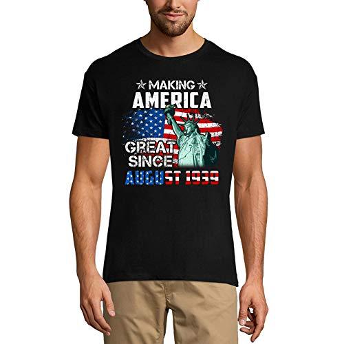 Ultrabasic Camiseta para hombre con la bandera de Estados Unidos para regalo de cumpleaños número 82 - negro - 5X-Large