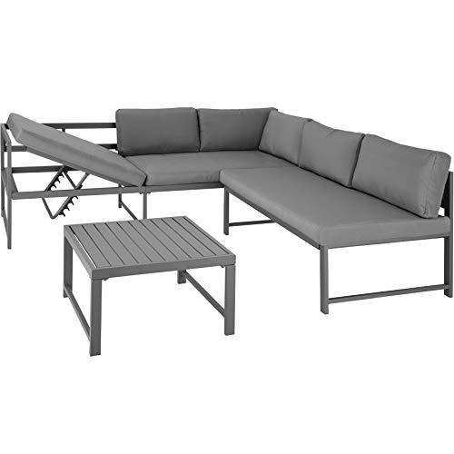 TecTake 403215 Aluminium Sitzgruppe für Garten und Balkon, wetterfest, 6-Fach verstellbare Rückenlehne, inkl. weiche Sitz- und Rückenkissen, grau