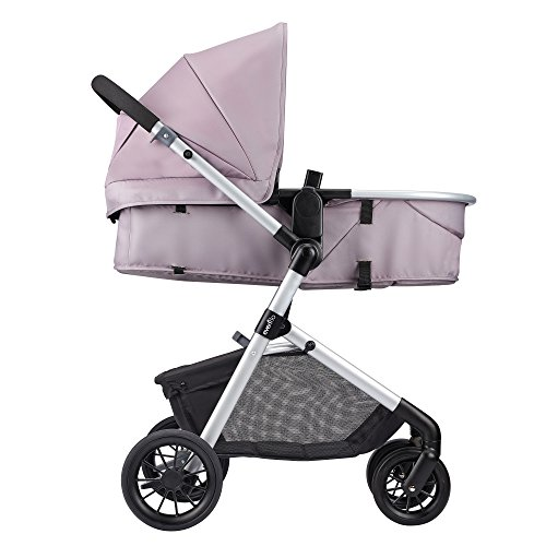 Evenflo Pivot Modular Travel System, Lightweight Baby Stroller, Sleek & Versatile, Easy Infant Car Seat Transfer, Oversized Storage Basket, Blanket Boot, Travel Stroller, 3-Panel Canopy, Sandstone Tan