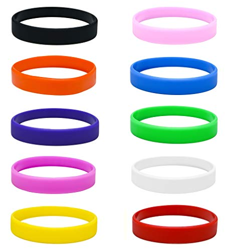 Silicone Wristbands, pack of 10, choose your colour (Multipack)