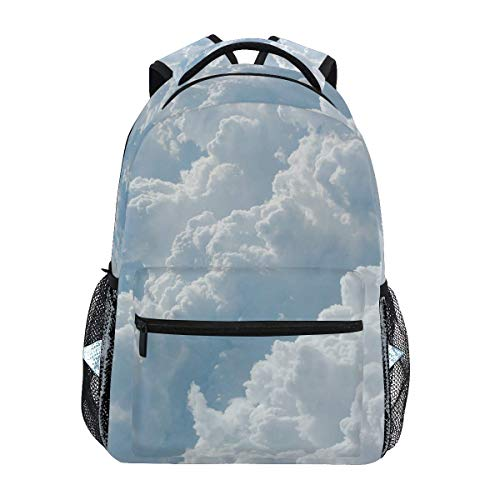 Backpack Fluffy White Clouds Print College School Vintage Travel Shoulder Bag Student Mochila Especial Casual Teens Lightpack Daypack Gift