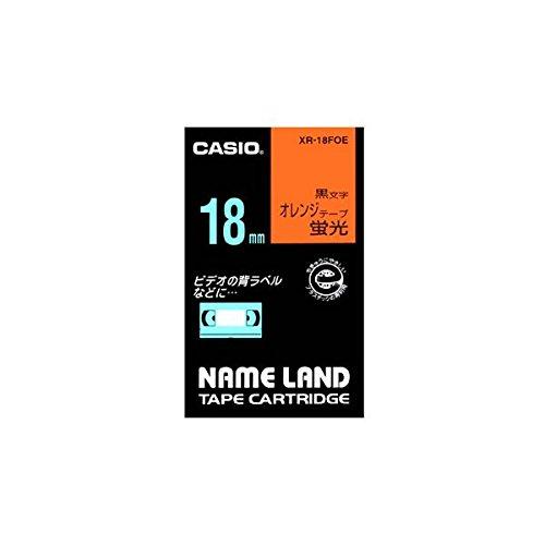 (まとめ) カシオ CASIO ネームランド NAME LAND スタンダードテープ 18mm×5.5m 蛍光オレンジ/黒文字 XR-18FOE 1個 【×4セット】 ds-1570250