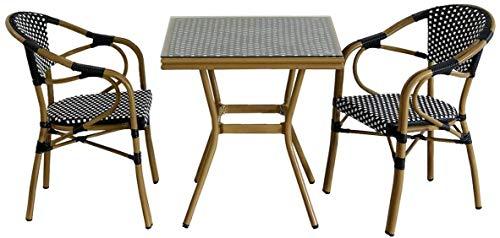 屋外 カフェ ガーデンテーブル チェア 3点セット 2人 ラタン 正方型 ガラス ブラック