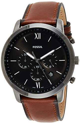 Fossil Herren Chronograph Quarz Uhr mit Leder Armband FS5512