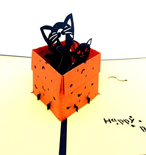 Smiling Art Pop Up 3D Karten, Glückwunschkarten inklusive Umschlag und Schutzhülle, handgearbeitet, handgefertigt, Geschenkkarte für Gutschein, Einladungskarte, Geburtstagkarte (Tier, Katze Blau)