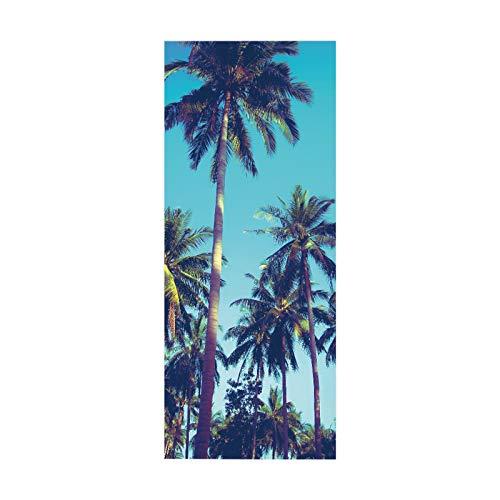 tianhao Etiqueta engomada autoadhesiva de la Puerta de la Moda, Cartel Alto de la Pasta del Arte de la arboleda del Coco para el Dormitorio de la decoración