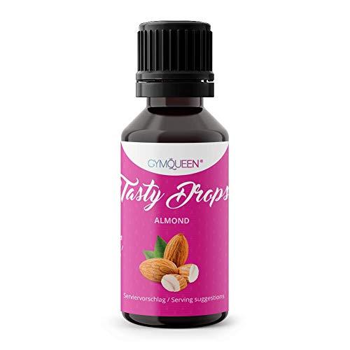 GymQueen Tasty Drops 30ml | Kalorienfreie, Zuckerfreie und Fettfreie Flavour Drops | Aroma Tropfen zum Süßen von Lebensmitteln | Geschmackstropfen ohne Künstliche Farbstoffe I Mandel