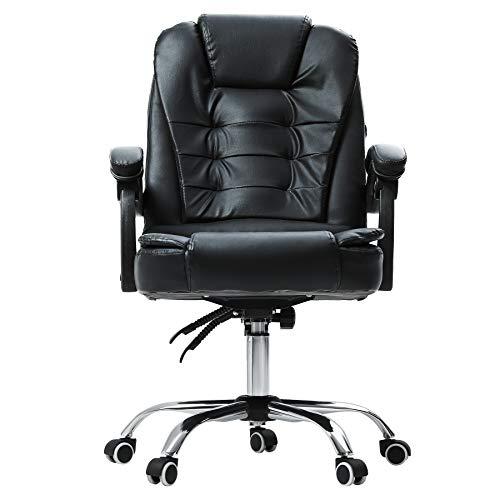 CO-Z Gepolstert Bürostuhl Ergonomisch mit Massagefunktion Gaming Stuhl 130kg Schreibtischstuhl 360°-Drehbar Schreibtischstuhl Chefsessel Höhenverstellbar, Rückenverstellbar, Schwarz