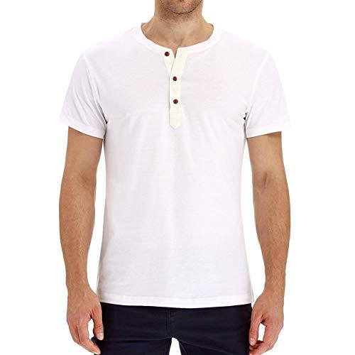 Heren Korte Mouw T-Shirt Sport Ronde Hals Trui Casual Effen Kleur Top,White,XXXL