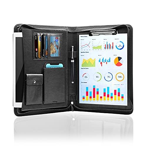 NEWYES A4 Portadocumenti Cartella per Conferenze in Pelle+Zipper,Padfolio con Tasche e Supporti di...