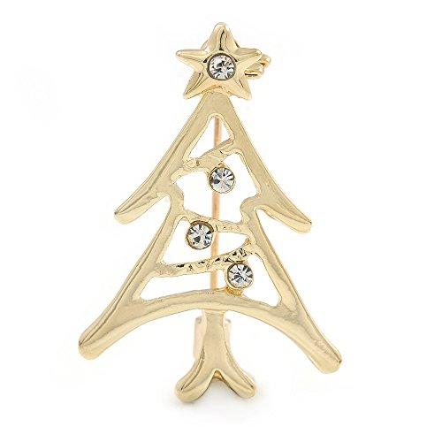 Avalaya - Broche para árbol de Navidad (Chapado en Oro, 30 mm),...