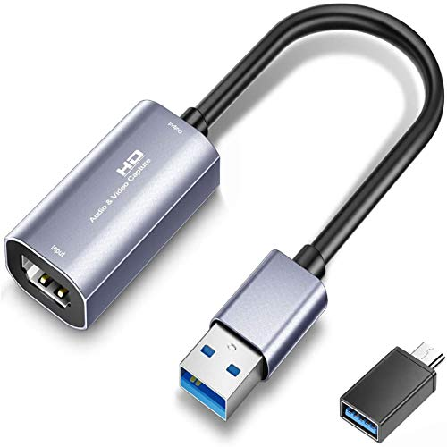 Tarjeta de captura de vídeo, USB 3.0 HD tarjeta de captura de audio, 4K 1080P Dispositivos de captura para juegos en vivo y grabadora de vídeo, compatible con Windows Mac para PS4, Switch, Xbox