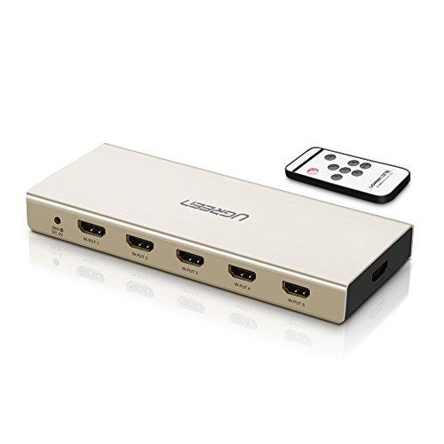 UGREEN HDMI Switch 5 Port UHD 4K Umschlater 5 In 1 Out Verteiler Alu. IR Fernbedienung TOSLINK SPDIF Optical 3.5mm Aux 3D ARC Umschaltung geeignet für PS4, BluRay Player, TV Stick, Raspberry Pi usw